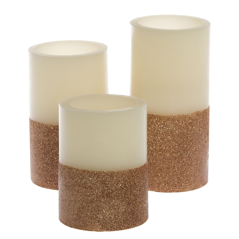 LED-Kerze Gilston (3-teilig) - Wachs - Kupfer