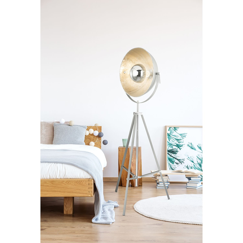 home24 Globo Lighting Stehleuchte Xirena I 1-flammig Eisen Modern Grau Ø 78 cm E27