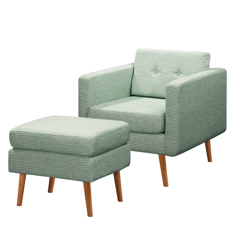 home24 Mørteens Sessel Croom II Mintgrün Webstoff mit Hocker 77x86x84 cm (BxHxT)