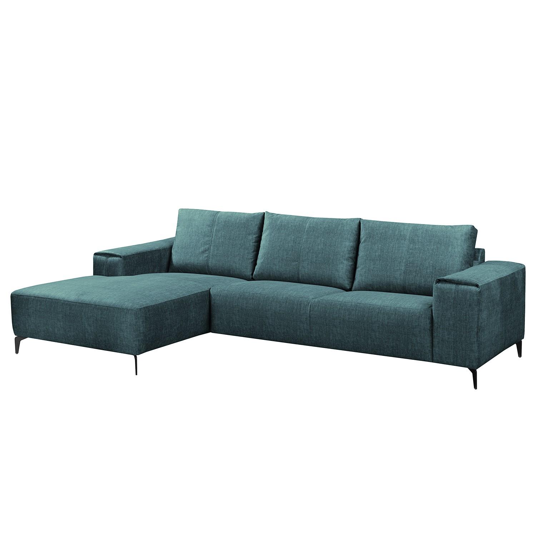 home24 Fredriks Ecksofa Mazy Jeansblau Microfaser 280x85x165 cm