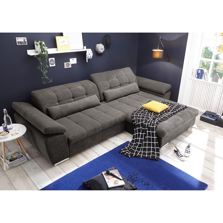 home24 loftscape Ecksofa Lilyfield Dunkelgrau Microfaser 308x85x200 cm mit Schlaffunktion