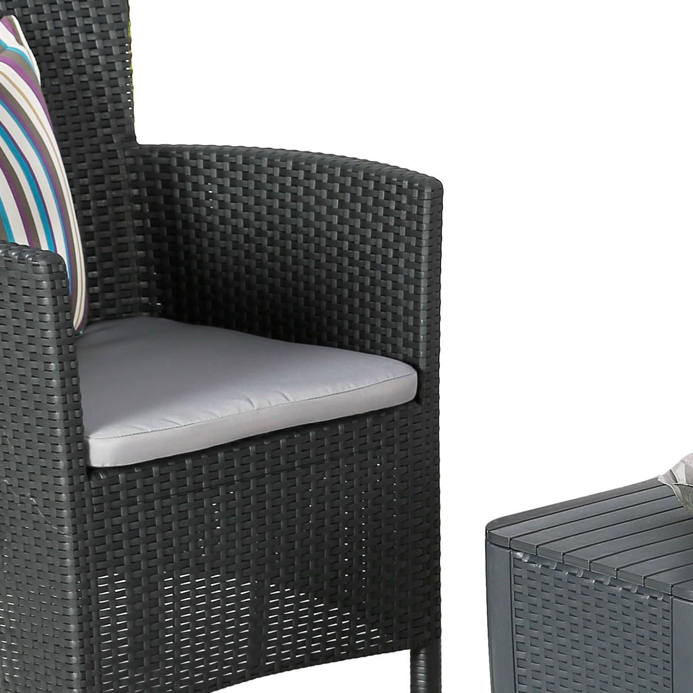 Balkonset Campo (3-teilig) - Metall/Textil Schwarz, mooved