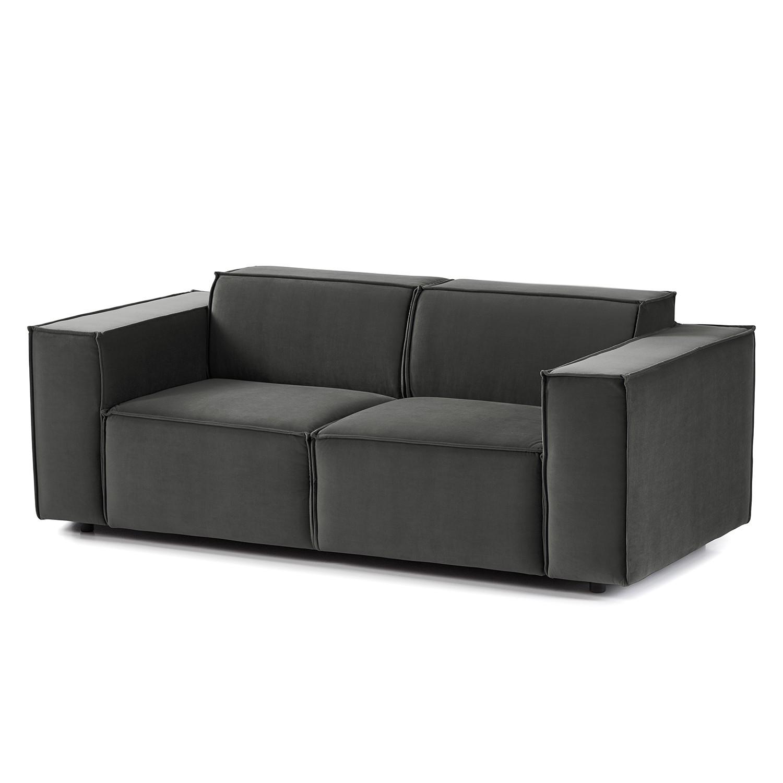 home24 Sofa Kinx II 2-Sitzer Rauchgrün Samt 189x71x96 cm (BxHxT) Glamour
