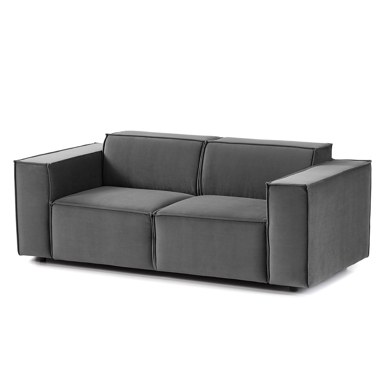 home24 Sofa Kinx II 2-Sitzer Grau Samt 189x71x96 cm (BxHxT) Glamour