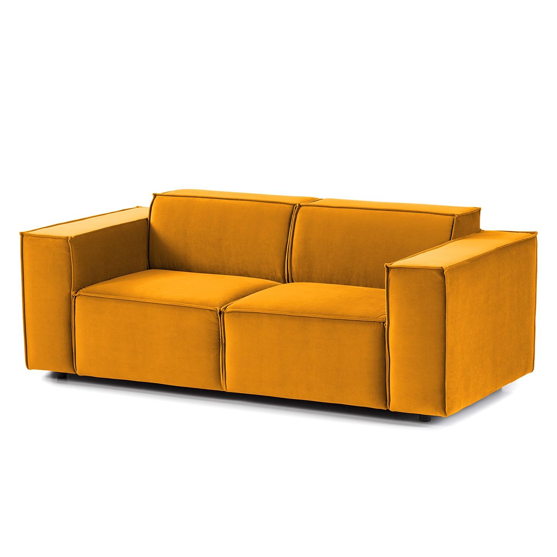 home24 Sofa Kinx II 2-Sitzer Senfgelb Samt 189x71x96 cm (BxHxT) Glamour