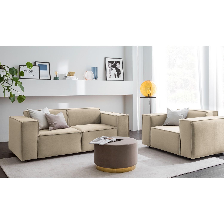 home24 Sofa Kinx II 2-Sitzer Beige Samt 189x71x96 cm (BxHxT) Glamour