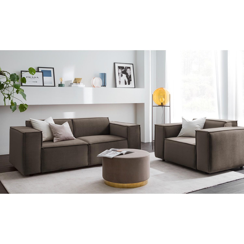 home24 Sofa Kinx II 2-Sitzer Taupe Samt 189x71x96 cm (BxHxT) Glamour