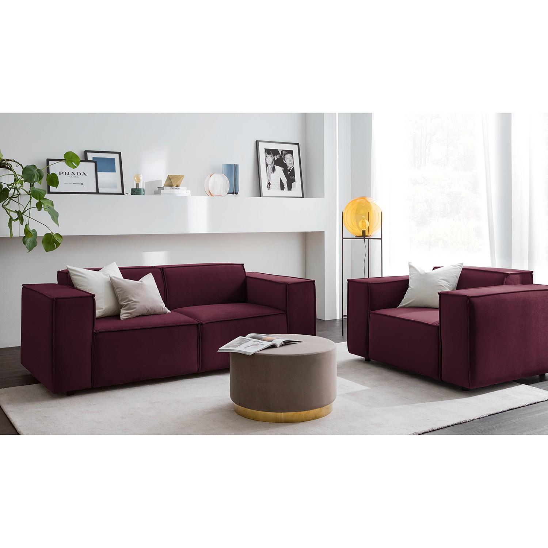 home24 Sofa Kinx II 2-Sitzer Aubergine Samt 189x71x96 cm (BxHxT) Glamour