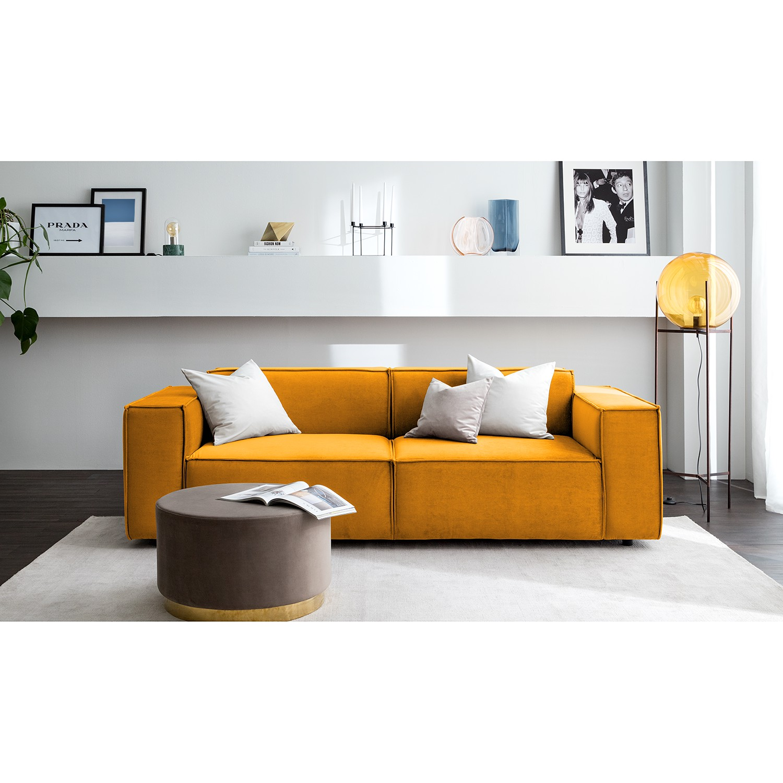 home24 Sofa Kinx II 2,5-Sitzer Senfgelb Samt 223x71x96 cm (BxHxT) Glamour