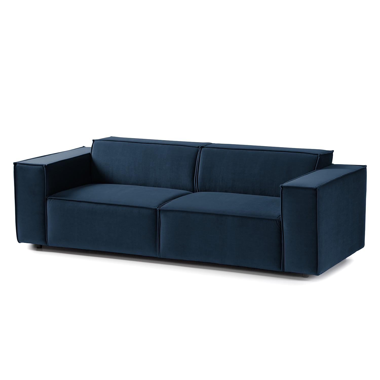 home24 Sofa Kinx II 2,5-Sitzer Dunkelblau Samt 223x71x96 cm (BxHxT) Glamour