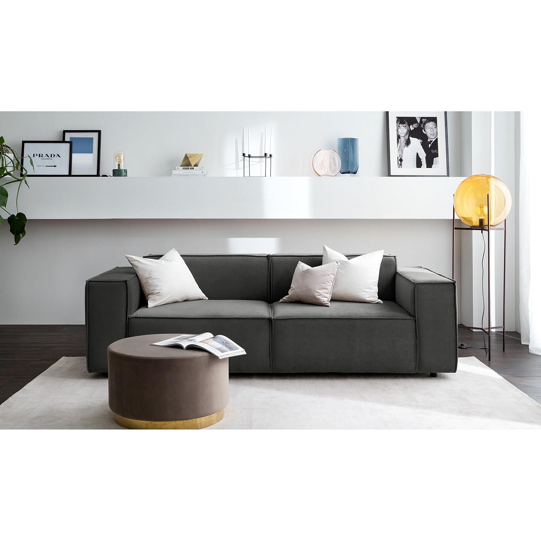 home24 Sofa Kinx II 2,5-Sitzer Rauchgrün Samt 223x71x96 cm (BxHxT) Glamour