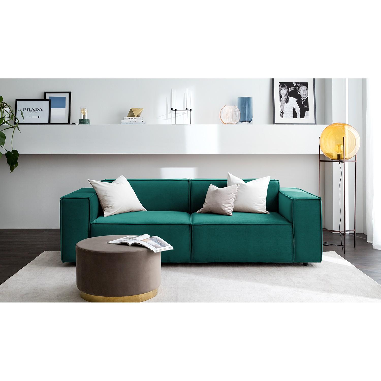 home24 Sofa Kinx II 2,5-Sitzer Petrol Samt 223x71x96 cm (BxHxT) Glamour