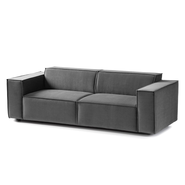 home24 Sofa Kinx II 2,5-Sitzer Grau Samt 223x71x96 cm (BxHxT) Glamour