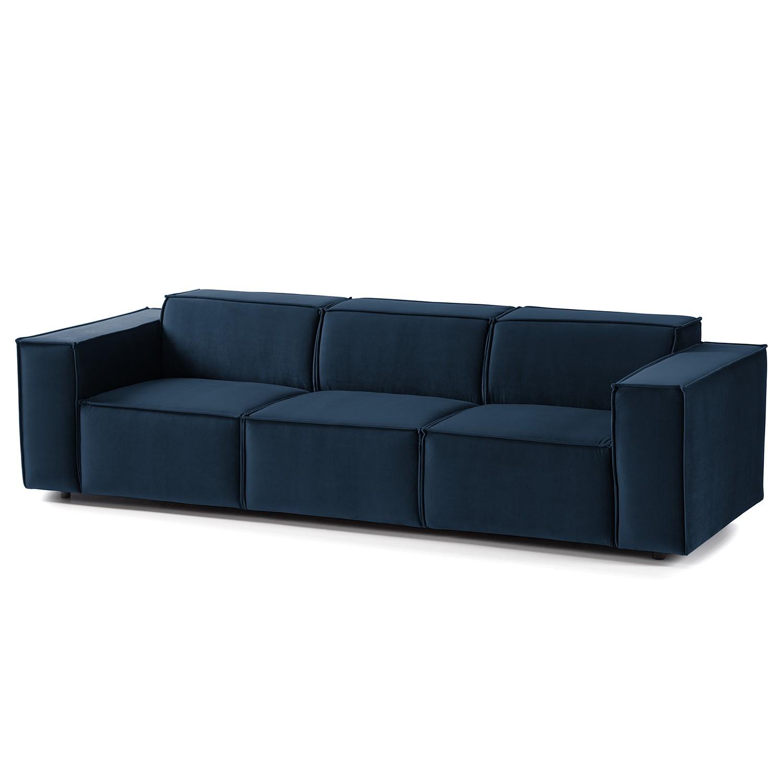 home24 Sofa Kinx II 3-Sitzer Dunkelblau Samt 260x71x96 cm (BxHxT) Glamour