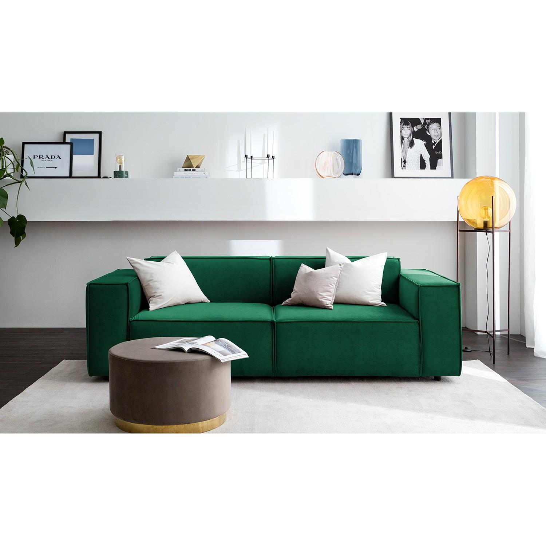 home24 Sofa Kinx II 2,5-Sitzer Dunkelgrün Samt 223x71x96 cm (BxHxT) Glamour
