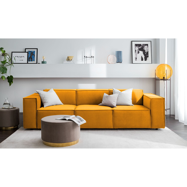 home24 Sofa Kinx II 3-Sitzer Senfgelb Samt 260x71x96 cm (BxHxT) Glamour