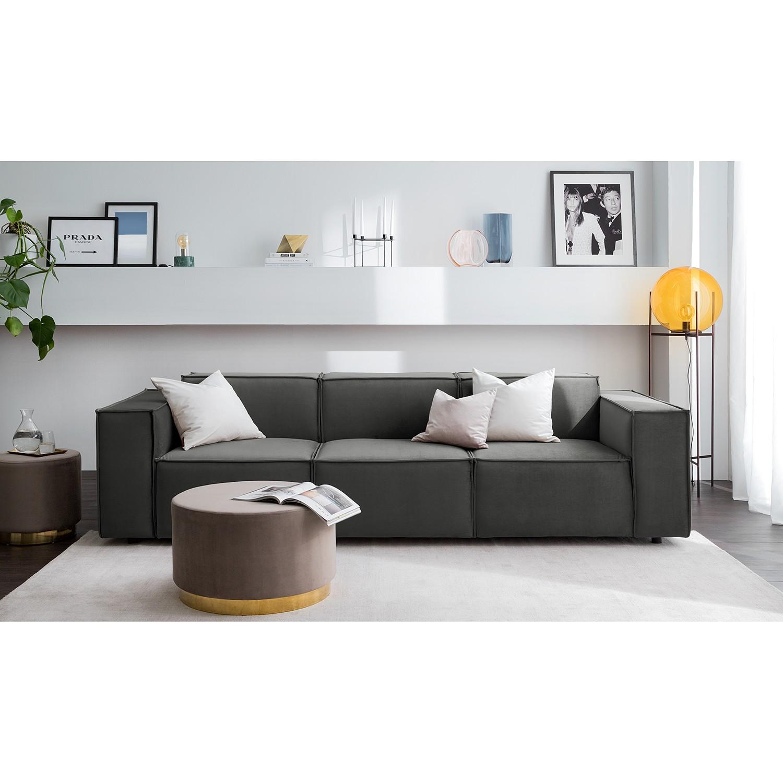 home24 Sofa Kinx II 3-Sitzer Rauchgrün Samt 260x71x96 cm (BxHxT) Glamour
