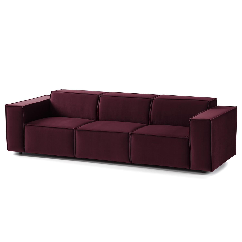 home24 Sofa Kinx II 3-Sitzer Aubergine Samt 260x71x96 cm (BxHxT) Glamour