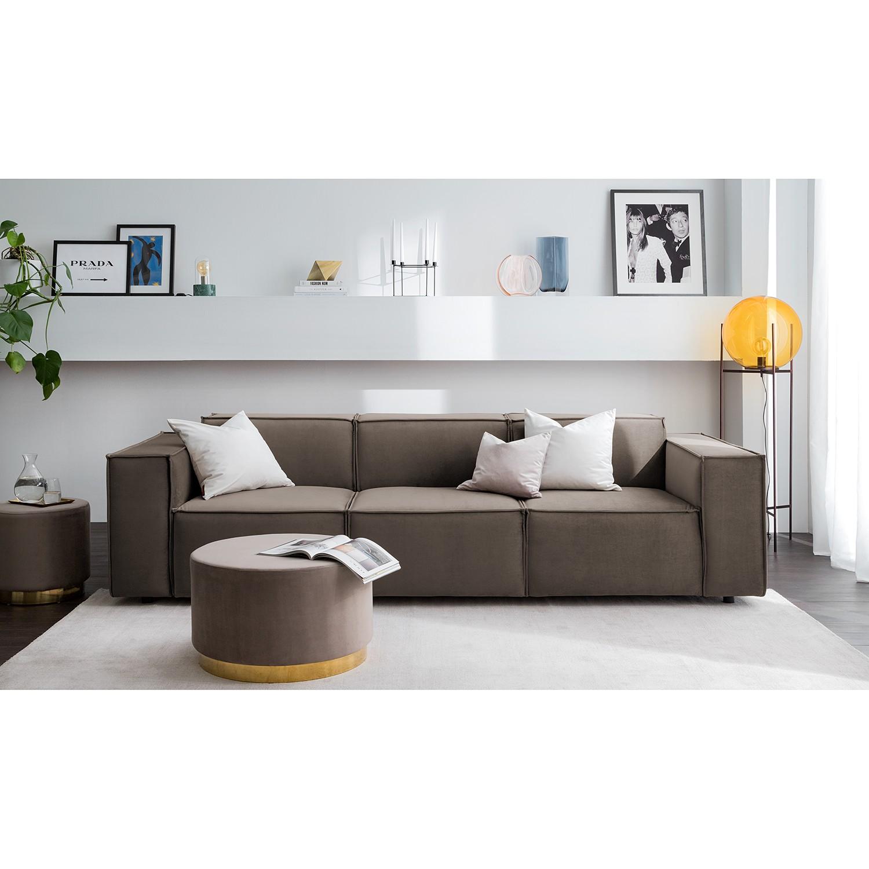 home24 Sofa Kinx II 3-Sitzer Taupe Samt 260x71x96 cm (BxHxT) Glamour