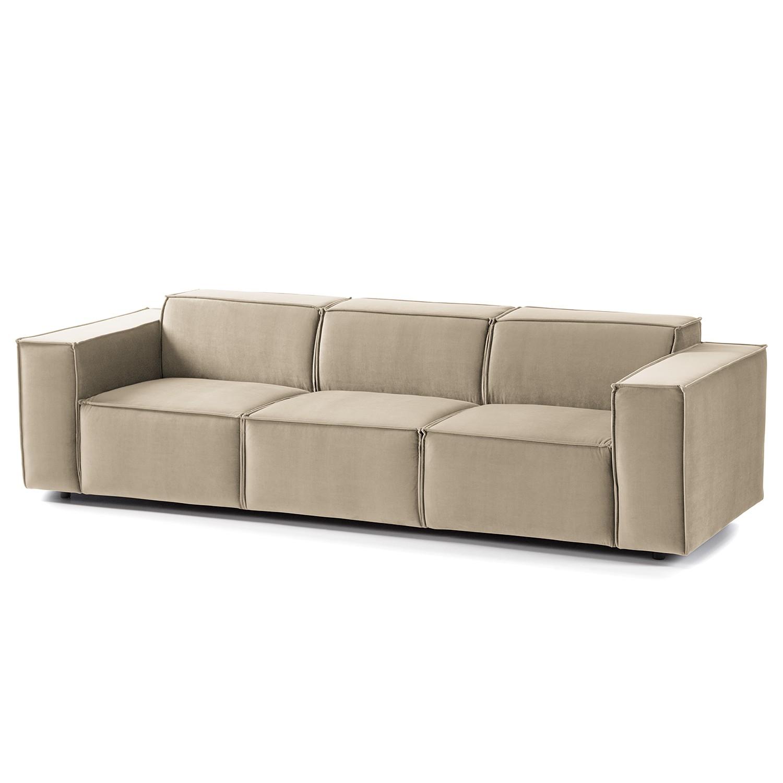 home24 Sofa Kinx II 3-Sitzer Beige Samt 260x71x96 cm (BxHxT) Glamour