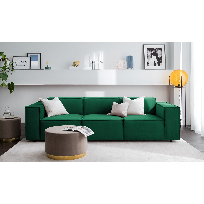 home24 Sofa Kinx II 3-Sitzer Dunkelgrün Samt 260x71x96 cm (BxHxT) Glamour