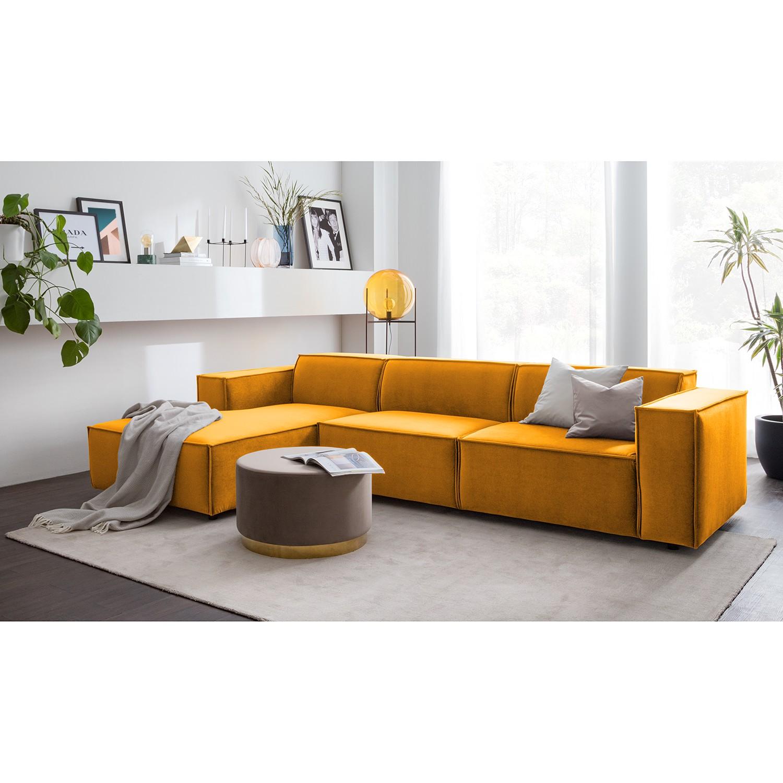 home24 Ecksofa Kinx V Senfgelb Samt 294x71x177 cm (BxHxT) Glamour