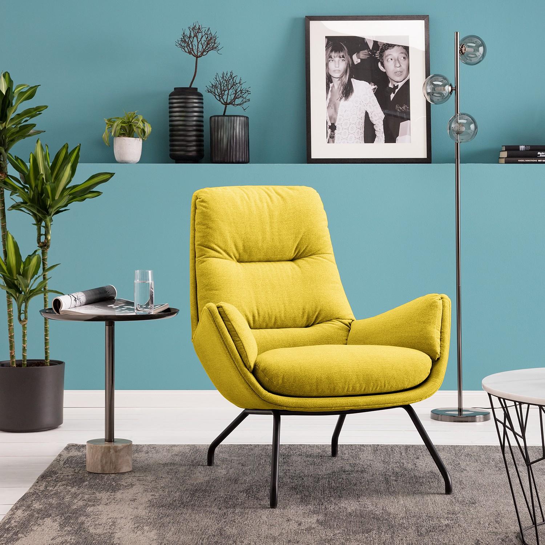 home24 Studio Copenhagen Sessel Garbo VI Gelb Webstoff 83x94x97 cm (BxHxT)