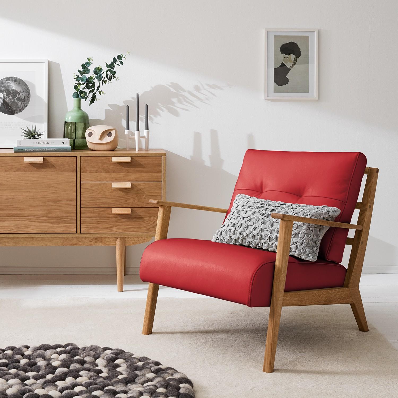 home24 Studio Copenhagen Sessel Timon IV Rot Echtleder 83x80x76 cm (BxHxT)