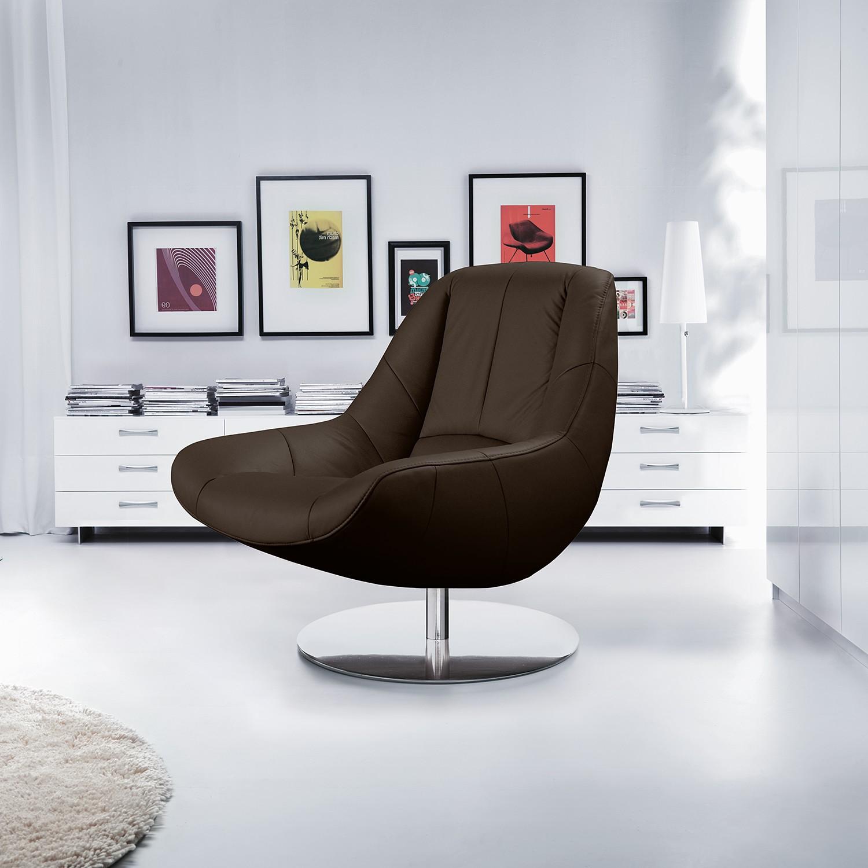 home24 loftscape Sessel Spay Dunkelbraun Echtleder 92x92x93 cm (BxHxT)
