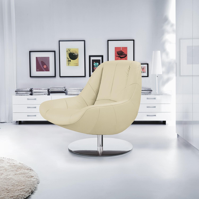 home24 loftscape Sessel Spay Weiß Echtleder 92x92x93 cm (BxHxT)