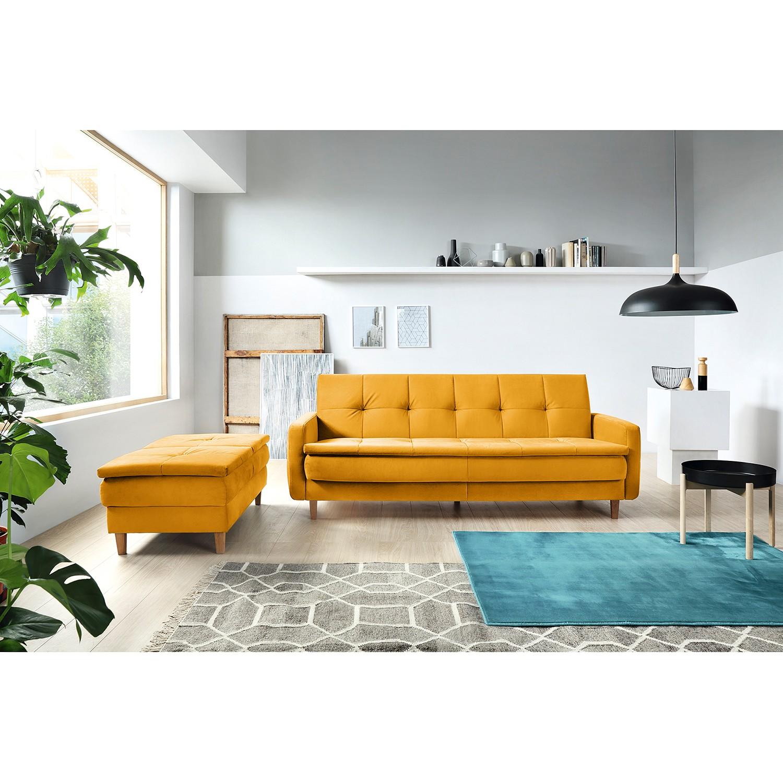 home24 loftscape Schlafsofa Pabna Senfgelb Samt 218x84x115 cm mit Schlaffunktion und Bettkasten