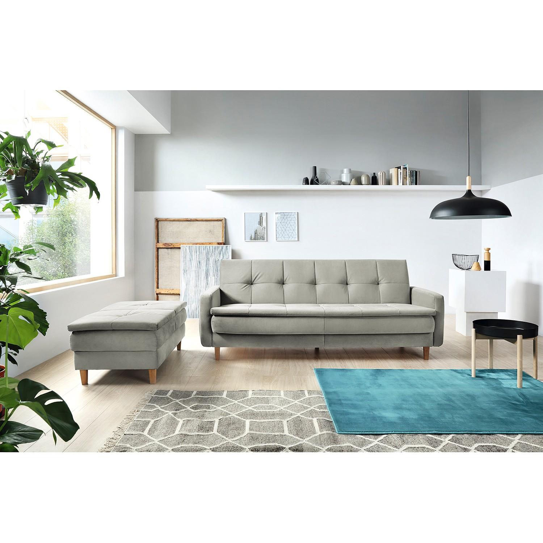 home24 loftscape Schlafsofa Pabna Hellgrau Samt 218x84x115 cm mit Schlaffunktion und Bettkasten