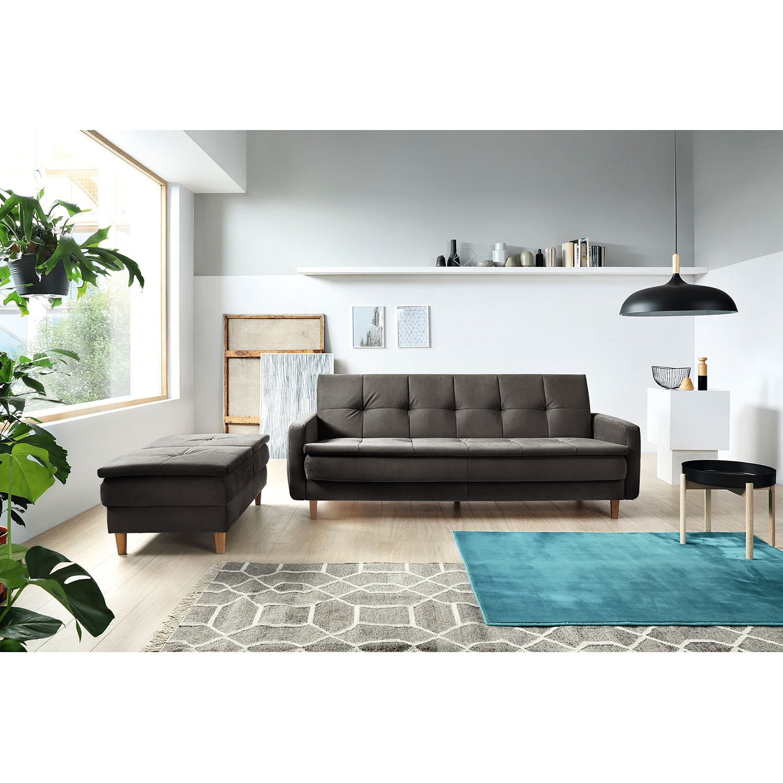 home24 loftscape Schlafsofa Pabna Dunkelgrau Samt 218x84x115 cm mit Schlaffunktion und Bettkasten