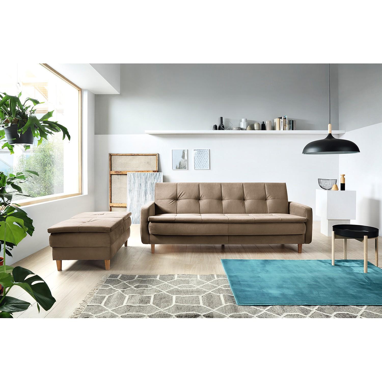 home24 loftscape Schlafsofa Pabna Solinograu Samt 218x84x115 cm mit Schlaffunktion und Bettkasten