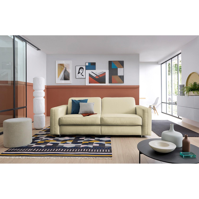 home24 loftscape Schlafsofa Blayney Weiß Echtleder 181x86x101 cm mit Schlaffunktion