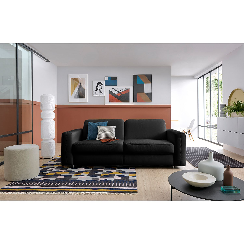 home24 loftscape Schlafsofa Blayney Schwarz Echtleder 201x86x101 cm mit Schlaffunktion