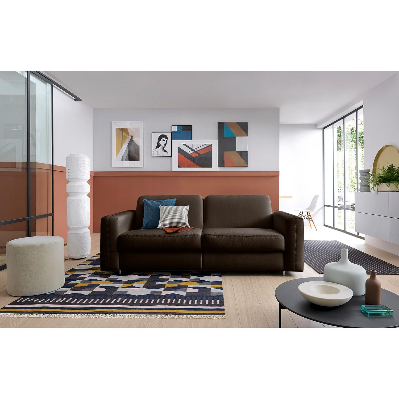 home24 loftscape Schlafsofa Blayney Dunkelbraun Echtleder 221x86x101 cm mit Schlaffunktion