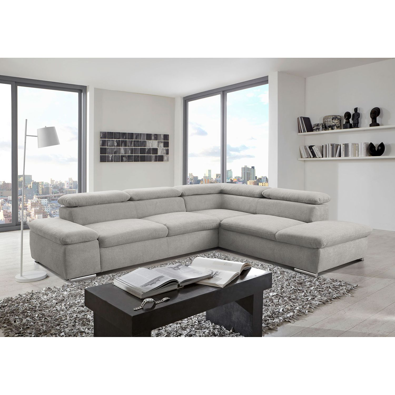home24 loftscape Ecksofa Glenaire I Hellgrau Strukturstoff 273x88x225 cm mit Schlaffunktion