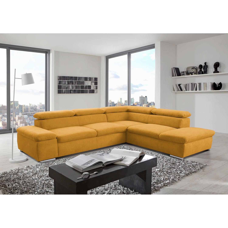 home24 loftscape Ecksofa Glenaire I Melonengelb Strukturstoff 273x88x225 cm mit Schlaffunktion