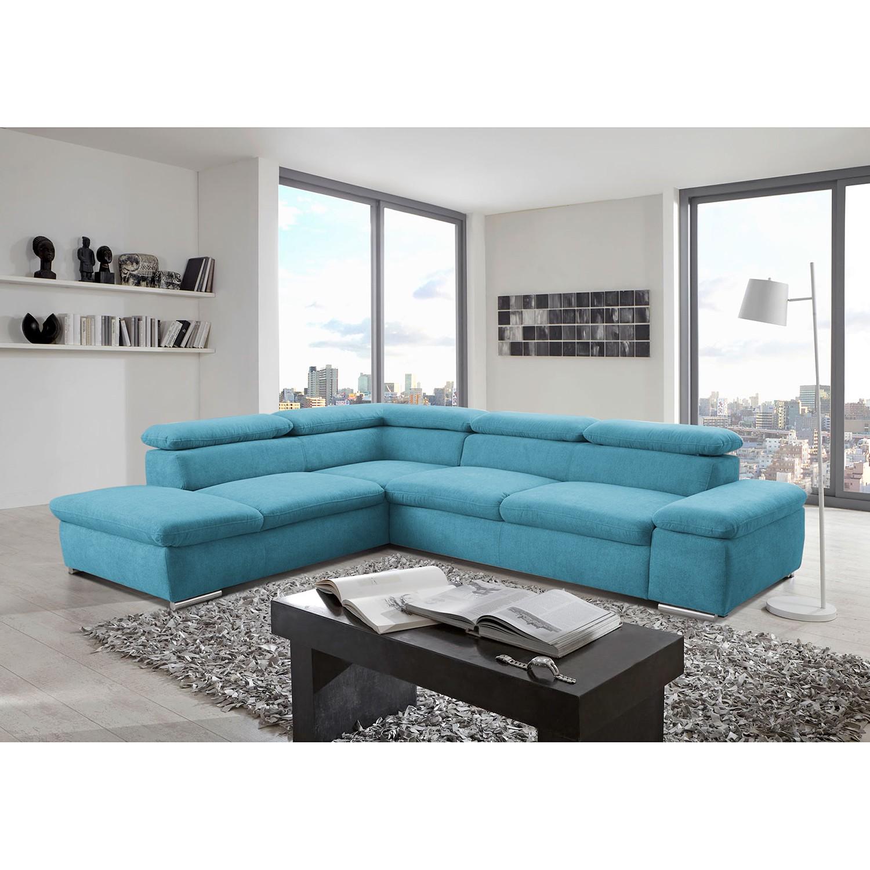 home24 loftscape Ecksofa Glenaire I Hellblau Strukturstoff 273x88x225 cm mit Schlaffunktion