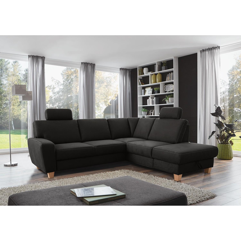 home24 loftscape Ecksofa Berlaar Anthrazit Microfaser 242x88x215 cm mit Schlaffunktion und Bettkasten