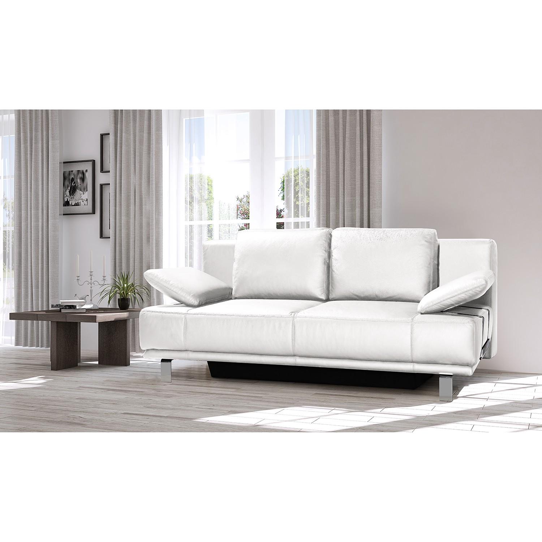 home24 loftscape Schlafsofa Newman Weiß Echtleder 210x88x105 cm mit Schlaffunktion und Bettkasten