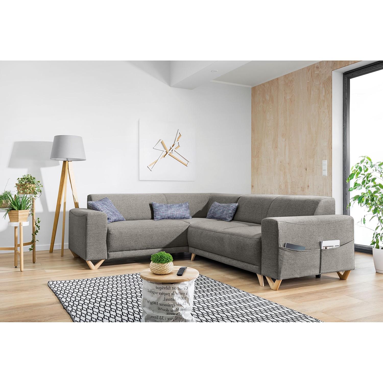 home24 Norrwood Ecksofa Loiz I Grau Webstoff 245x76x210 cm mit Schlaffunktion und Bettkasten