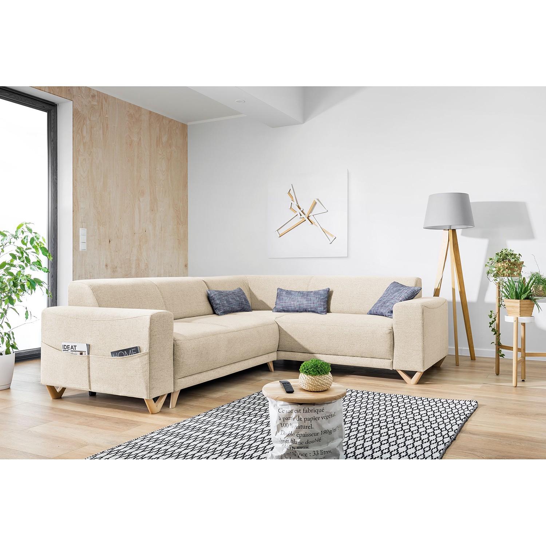 home24 Norrwood Ecksofa Loiz I Beige Webstoff 245x76x210 cm mit Schlaffunktion und Bettkasten