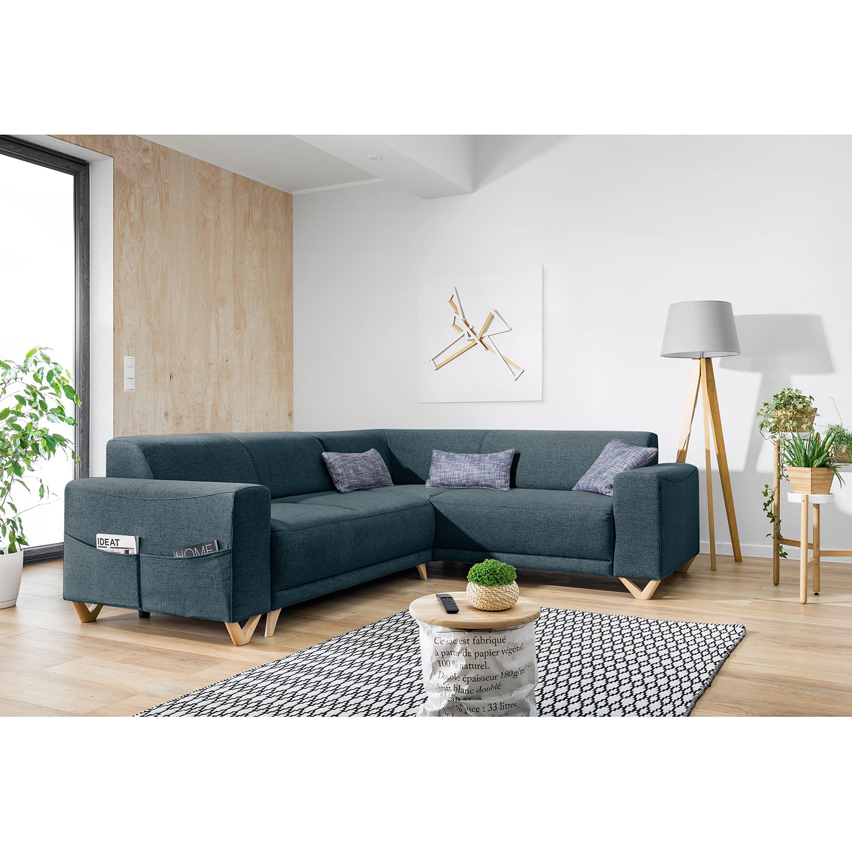 home24 Norrwood Ecksofa Loiz I Schiefer Webstoff 245x76x210 cm mit Schlaffunktion und Bettkasten