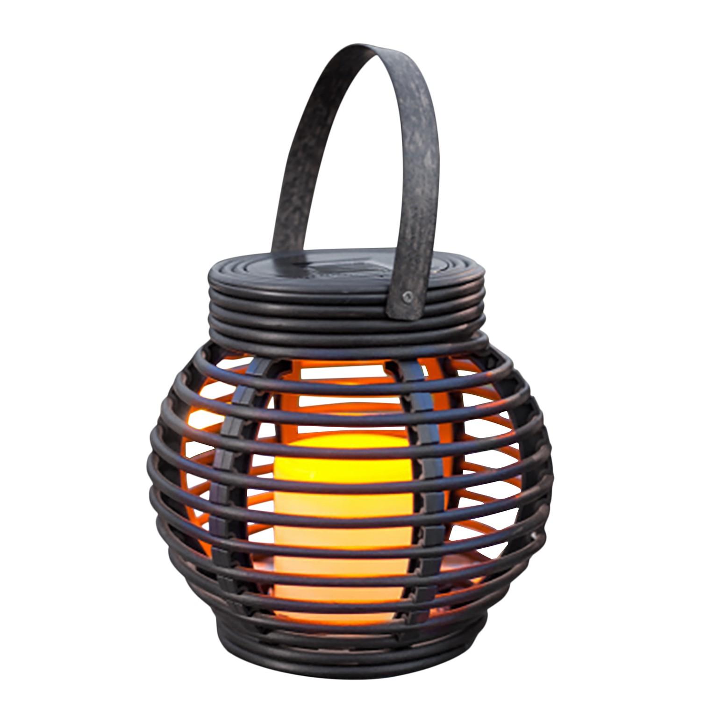 home24 Solar-Dekoleuchte Rattan Flamme | Lampen > Aussenlampen > Solarleuchten | Schwarz | Kunststoff | Naeve