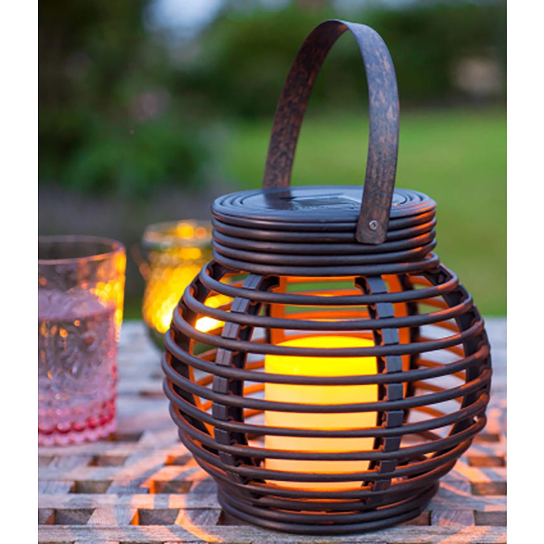 home24 Solar-Dekoleuchte Rattan Flamme   Lampen > Aussenlampen > Solarleuchten   Naeve