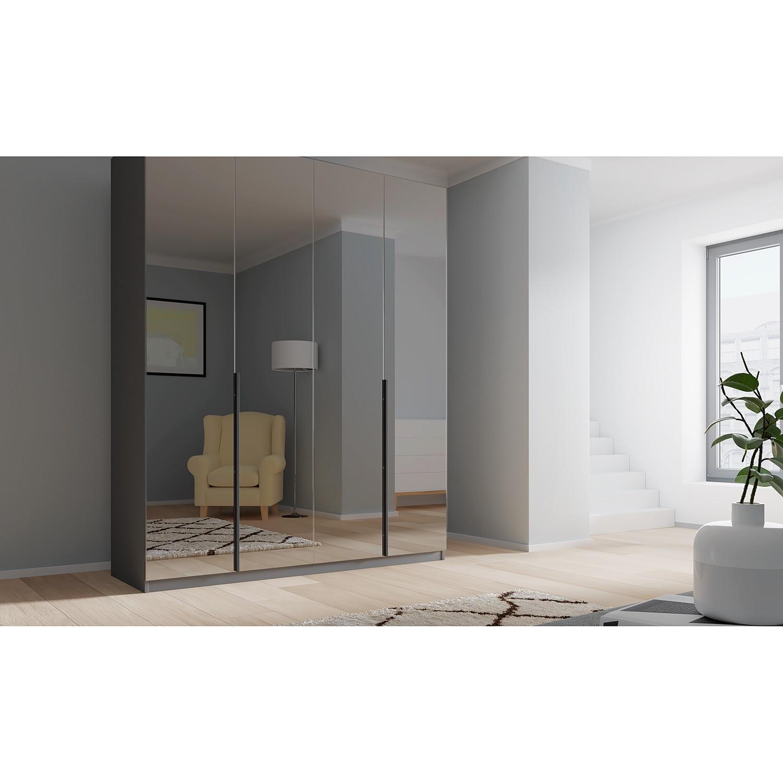 Drehtuerenschrank SKOEP VII | Schlafzimmer > Kleiderschränke > Drehtürenschränke | Schwarz | Holzwerkstoff - Glas | SKOEP