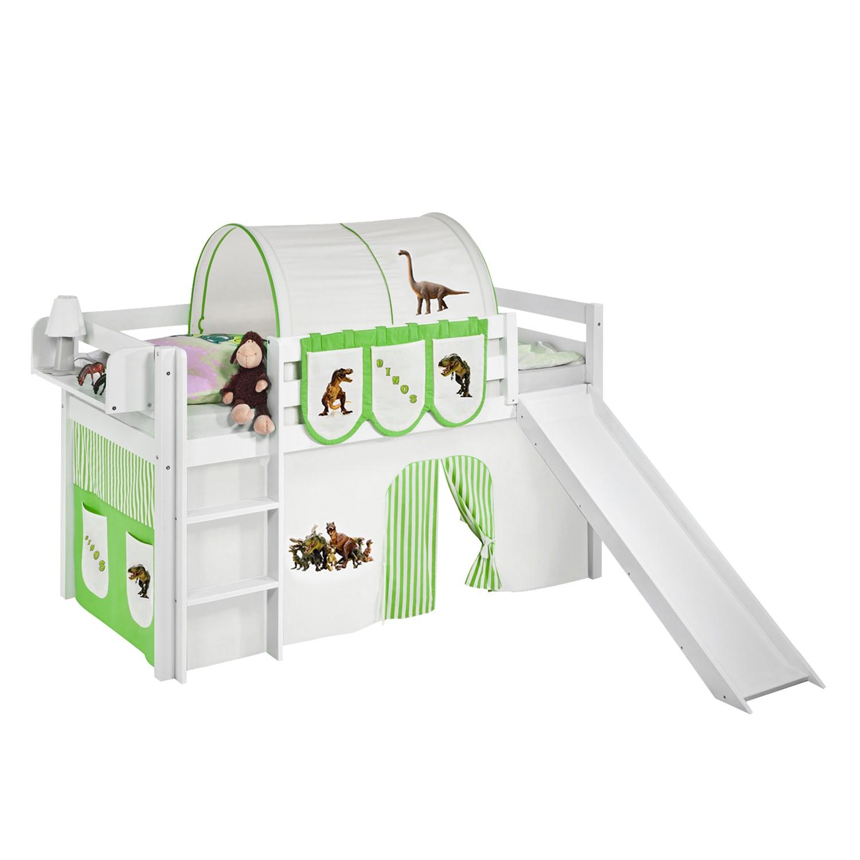 home24 Spielbett JELLE Dinos Gruen Beige | Kinderzimmer > Kinderbetten | Lilokids