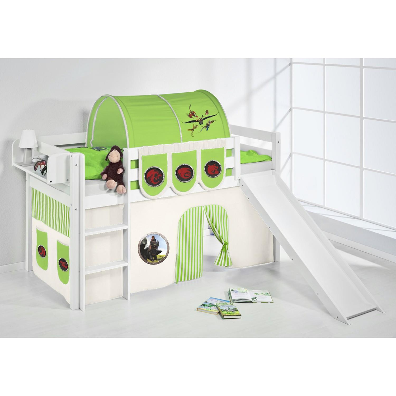 home24 Spielbett JELLE Dragons Gruen   Kinderzimmer > Kinderbetten > Hochbetten   Lilokids